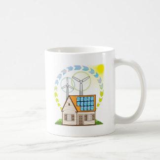 Wind n Solar Small House Vector Eco Energy Coffee Mug