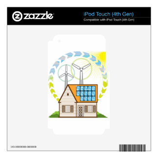 Wind n Solar Small House Vector Eco Energy iPod Touch 4G Skins