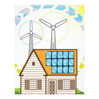 Wind n Solar Small House Vector Eco Energy Letterhead