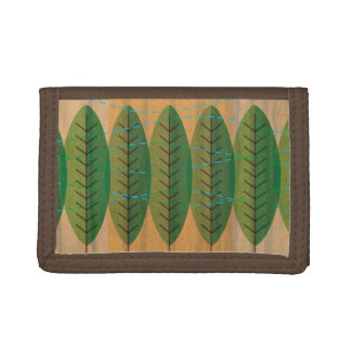 wind n trees brown tri-fold nylon wallet