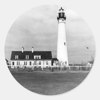 Wind Point Lighthouse Classic Round Sticker