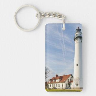 Wind Point Lighthouse Double-Sided Rectangular Acrylic Keychain