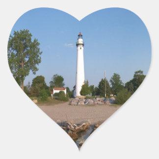Wind Point Lighthouse Heart Sticker