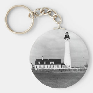 Wind Point Lighthouse Basic Round Button Keychain