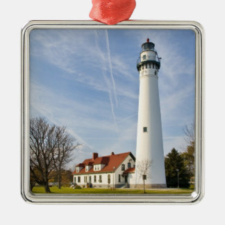Wind Point Lighthouse Metal Ornament