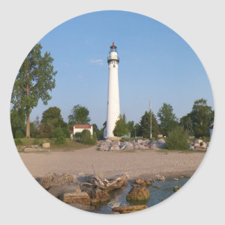 Wind Point Lighthouse Round Stickers