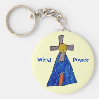 Wind Power Basic Round Button Keychain