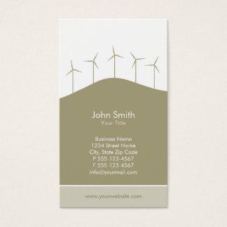 Wind power - beige turbines business card template