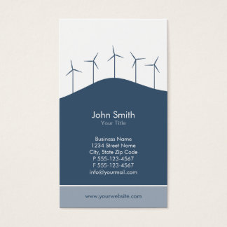 Wind power - blue turbines business card template