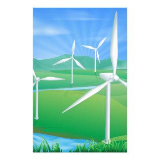 Wind power energy illustration custom stationery