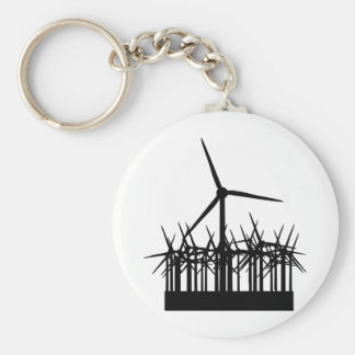 wind power environment basic round button keychain