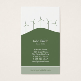Wind power - green turbines business card template