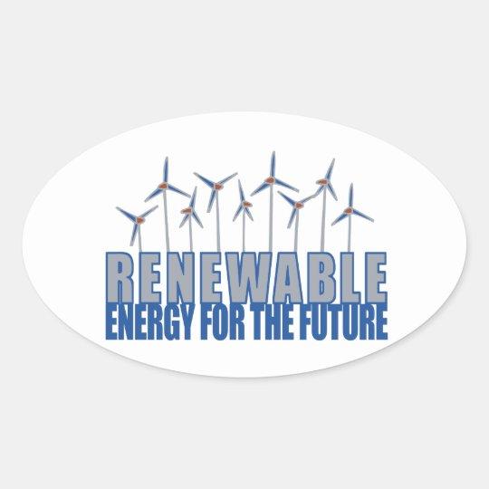 Wind Power Turbines Oval Sticker