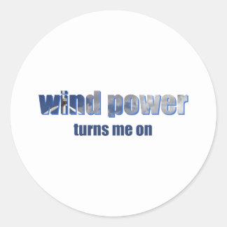 Wind Power Turns! Classic Round Sticker