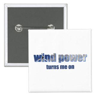 Wind Power Turns! Pinback Button