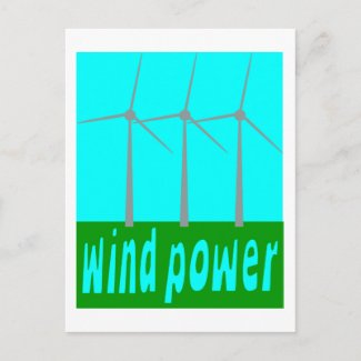 Wind Power With Turbines And Sky postcard