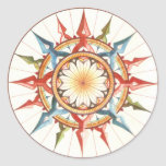 wind rose, compass classic round sticker
