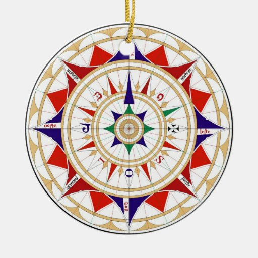 Wind Rose Compass Rose by Jorge de Aguiar in 1492 Christmas Tree Ornaments