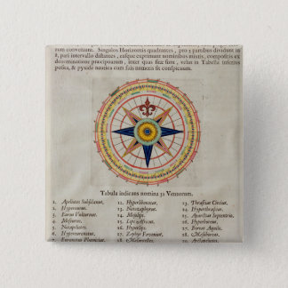 Wind rose with the 32 winds ofthe world pinback button