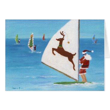 Ocean Themed Wind Sailing Santa Card