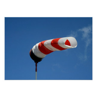 Wind sock at the airfield poster