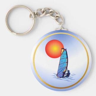 Wind Surf-Circle Basic Round Button Keychain
