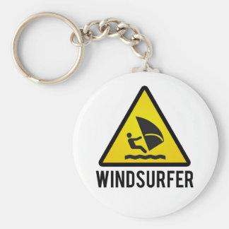 Wind surfer basic round button keychain