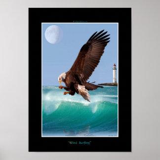 WIND SURFING Bald Eagle  Art Poster