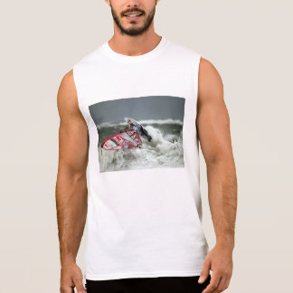 wind-surfing sleeveless t-shirt