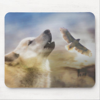 """Wind Talker""  Wolf and Redtail Hawk Mousepad"