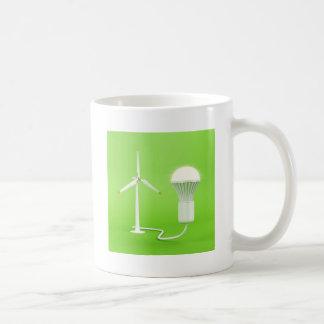 Wind turbine and glowing light bulb coffee mug