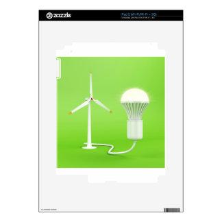 Wind turbine and glowing light bulb decal for iPad 2