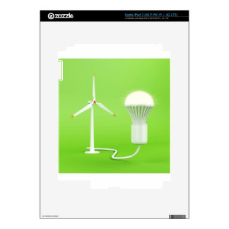 Wind turbine and glowing light bulb iPad 3 decals
