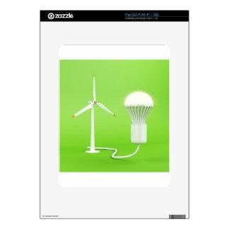 Wind turbine and glowing light bulb iPad decal