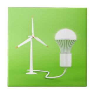 Wind turbine and glowing light bulb tile