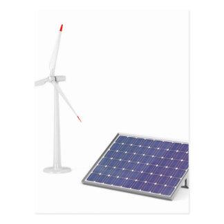 Wind turbine and solar panel postcard
