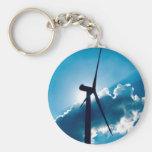 Wind turbine basic round button keychain