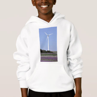 Wind turbine behind a field of purple flowers hoodie