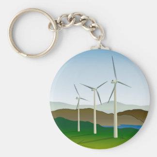 Wind Turbine by Lake Basic Round Button Keychain
