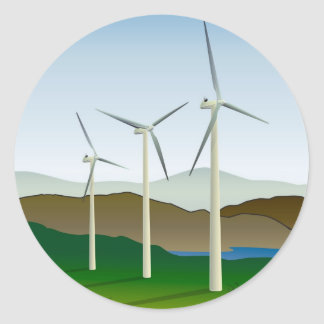 Wind Turbine by Lake Classic Round Sticker