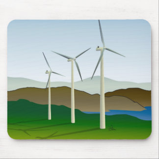 Wind Turbine by Lake Mouse Pad