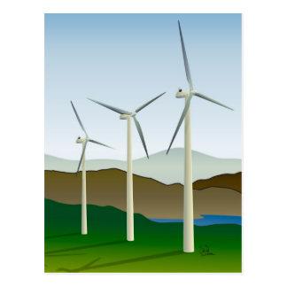 Wind Turbine by Lake Postcard