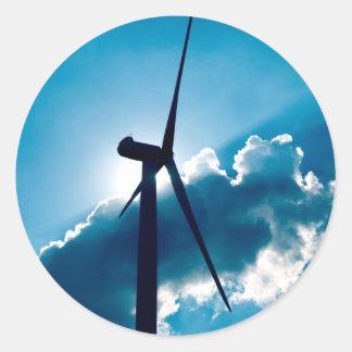 Wind turbine classic round sticker
