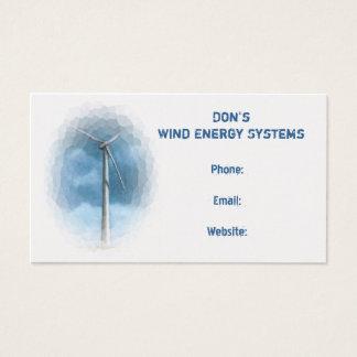 Wind Turbine: Energy Business: Calendar on Back Business Card