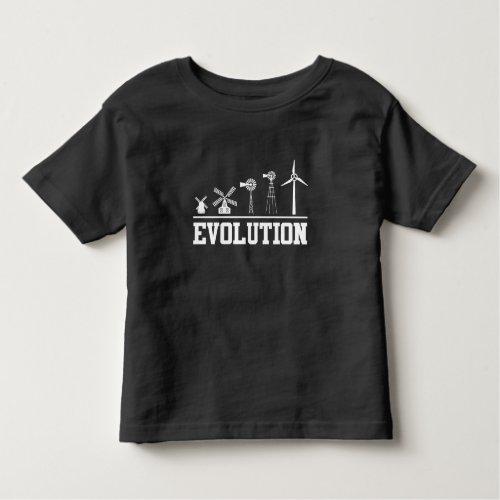Wind Turbine History Clean Energy Evolution Toddler T_shirt