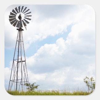 Wind Turbine in field Square Sticker