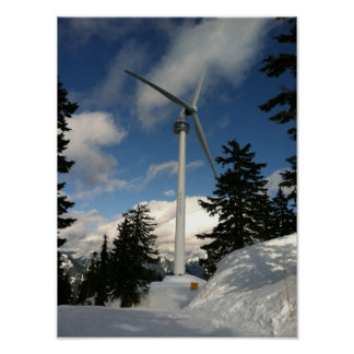 Wind Turbine in Snow Grouse Mountain Vancouver BC Poster