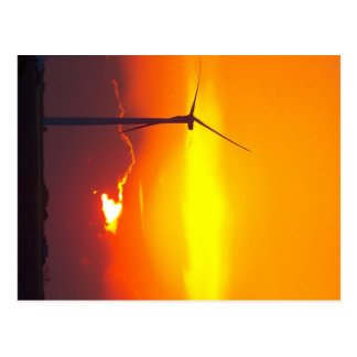 wind turbine in the sunrise postcard