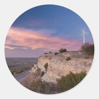 Wind Turbine in west Texas at Sunset Classic Round Sticker