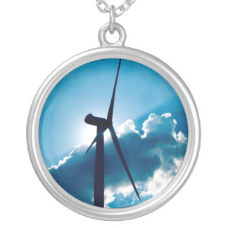 Wind turbine round pendant necklace